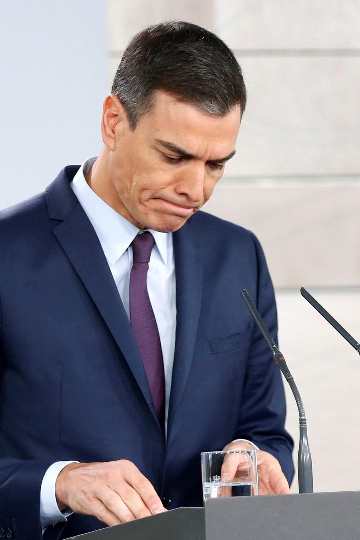El presidente del Gobierno, Pedro Sánchez, durante su comparecencia, este viernes en el Palacio de la Moncloa/ Foto: EFE
