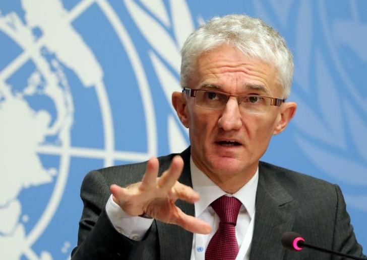 El secretario general adjunto de Asuntos Humanitarios y Coordinador de Ayuda de Emergencia, Mark Lowcock, asiste a una conferencia de prensa en Ginebra. 4 de diciembre de 2018/ FOTO: REUTERS/Denis Balibouse