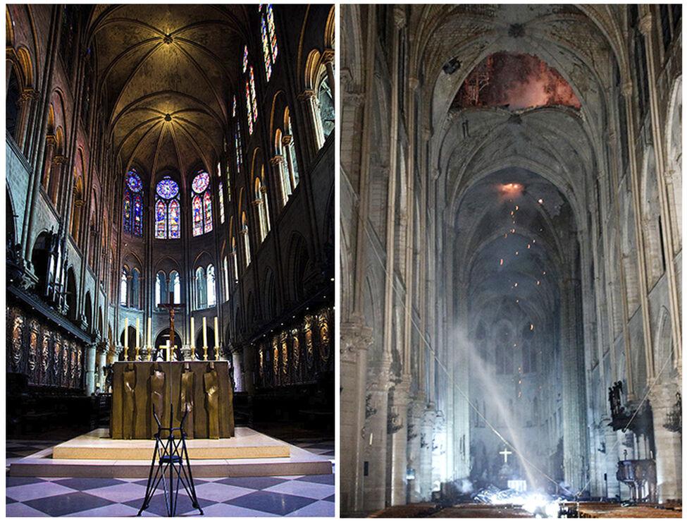 Imágenes del antes y después del altar de la catedral de Notre-Dame, tras el incendio de este lunes. / FOTO: EFE-Wikimedia