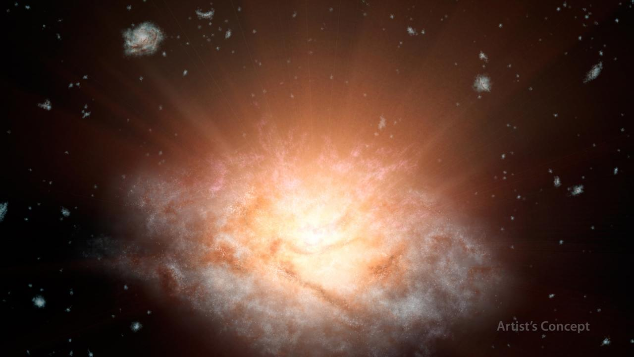 This artist's concept depicts the current record holder for the most luminous galaxy in the universe. Image credit: NASA/JPL-Caltech