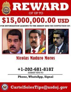 Afiche oficial de la recompensa por Maduro