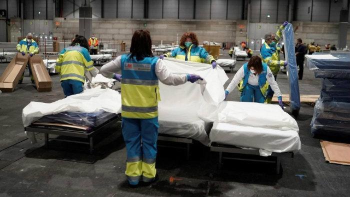 Hospital de campaña improvisado de IFEMA, uno de los tantos que se han creado en España para atender a los pacientes con coronavirus.
