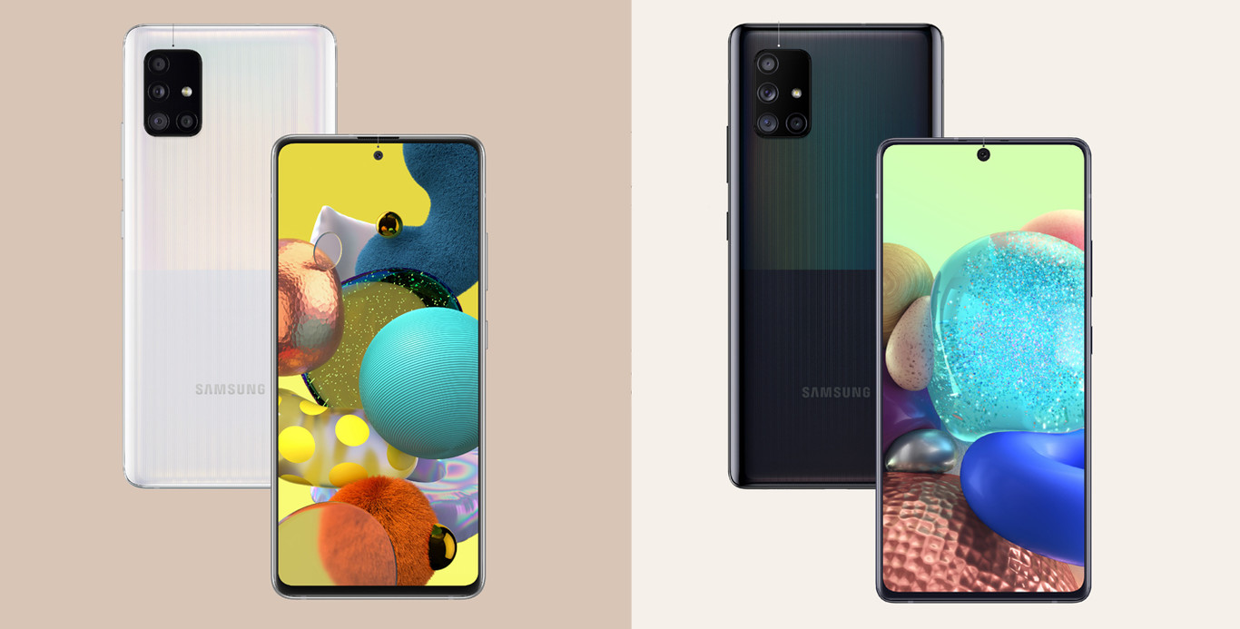 Los nuevos gama media 5G de Samsung repiten la trasera de plástico, con un diseño visual en tramas, dividido a la mitad y colores base: negro, blanco, azul y rosa
