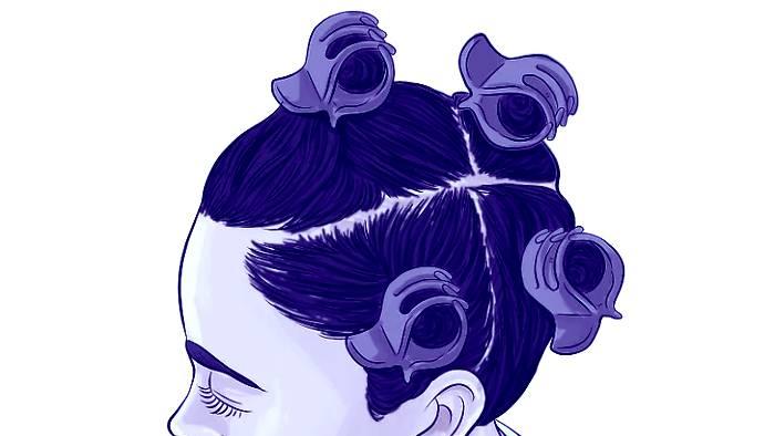Este es un buen ejemplo de como debes separar tu cabello inicialmente para Tapar las canas