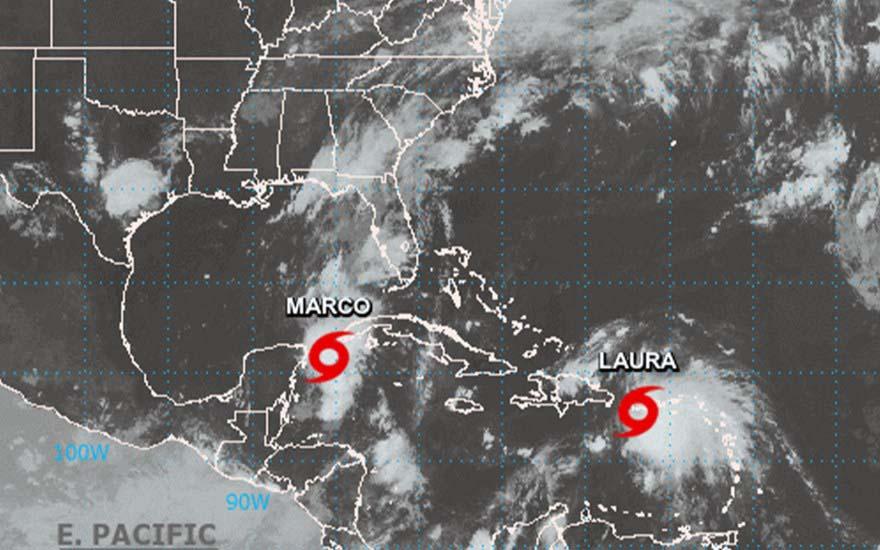 huracán Marco y Laura
