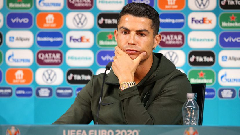 Cristiano ronaldo en rueda de prensa de la euro 2020